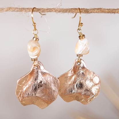 Picture of Leather Chip Earrings - Rosegold