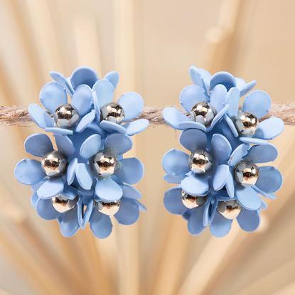 Picture of Cluster Flower Ear Hugger Earrings - Milky Blue