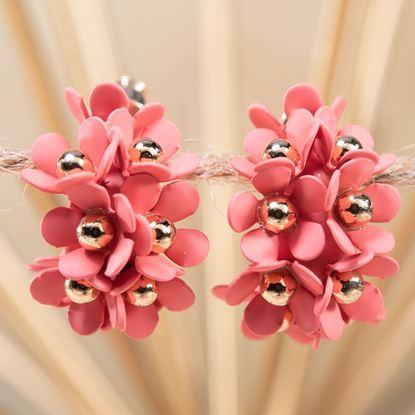 Picture of Cluster Flower Ear Hugger Earrings - Coral