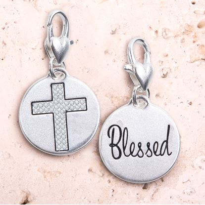 Picture of Crystal Cross Silver 1-Tone Medallion