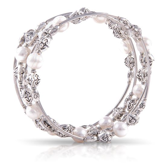 Picture of Pearl Silver Spiral Bracelet - Natural White