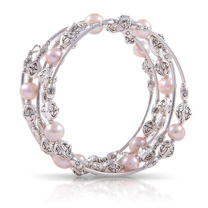 Picture of Pearl Silver Spiral Bracelet - Natural Lavender