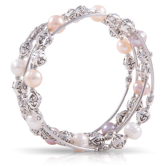 Picture of Pearl Silver Spiral Bracelet - Natural Multi