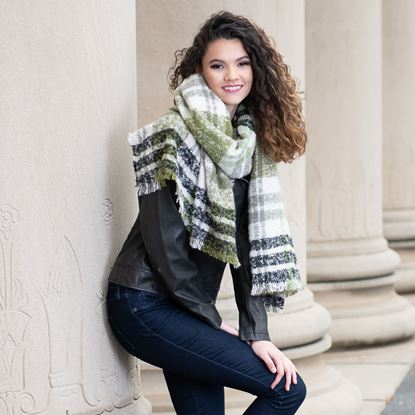 Picture of Super-Soft Plaid Scarf Wrap - Vetiver