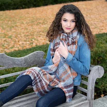 Picture of Super-Soft Plaid Scarf Wrap - Cedarwood