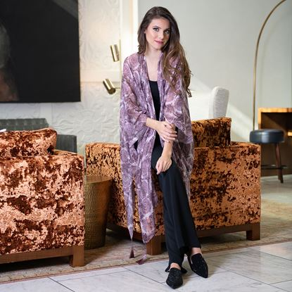 Picture of Floral Print Ruana - Mauve / Ivory