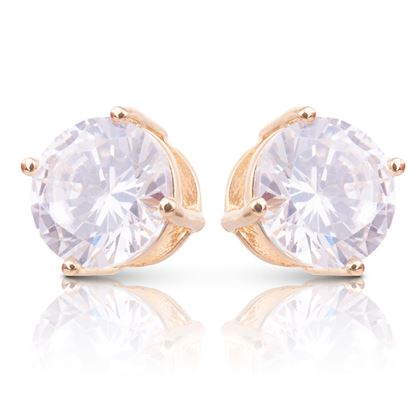 Picture of Clear CZ Stud Earrings - Gold