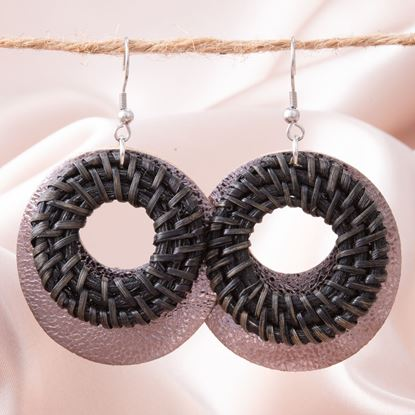 Picture of Woven Leather Open Hoop Earring - Black