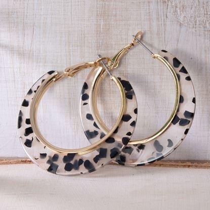 Picture of Edge Hoop Earrings - Clear Leopard