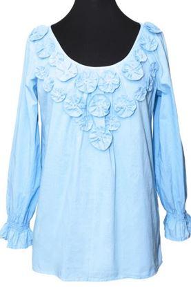 Picture of Floral Applique Blouse Tunic - Light Blue - Medium