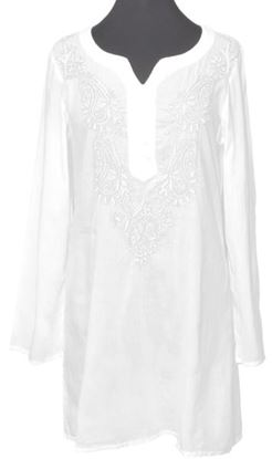 Picture of Button Henley Blouse Tunic - White - Large