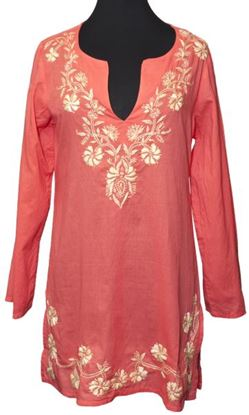 Picture of Floral Side-Slit Tunic - Coral/Gold - Large