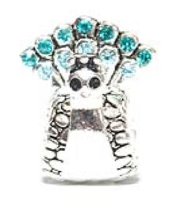 Picture of Silver Plated Bead - Aquamarine Peacock