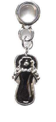 Picture of Silver Plated Bead - Black Flower Flip Flop