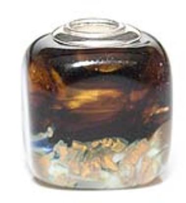 Picture of Prima Artisan Hand-Made Glass Bead - Midnight Gold