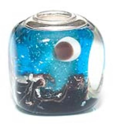 Picture of Prima Artisan Hand-Made Glass Bead - Turquoise Shore