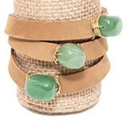 Picture of Rock Candy Leather Wrap Bracelet - Wide Light Brown Jade Cube