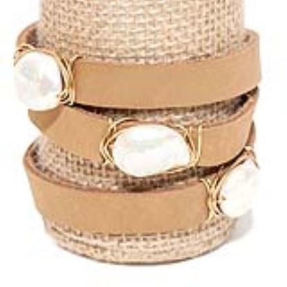 Picture of Rock Candy Leather Wrap Bracelet - Wide Light Brown Natural 15mm Pearl