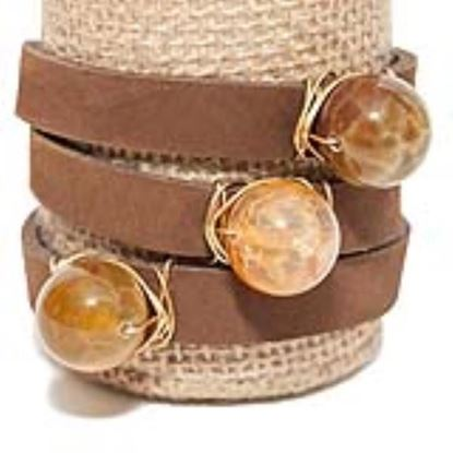 Picture of Rock Candy Leather Wrap Bracelet - Wide Dark Brown Dragon Agate Ball