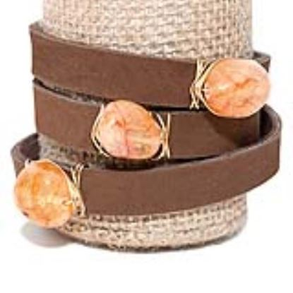 Picture of Rock Candy Leather Wrap Bracelet - Wide Dark Brown Yellow/Orange Agate