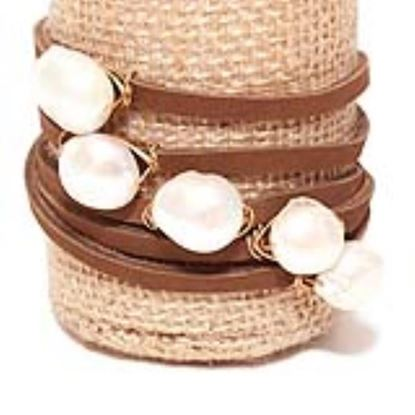 Picture of Rock Candy Leather Wrap Bracelet - Thin Dark Brown Natural 12mm Pearl