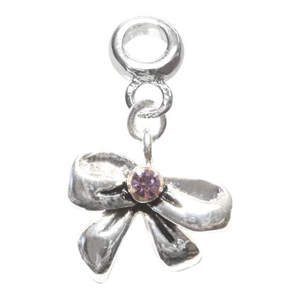 Picture of Silver Plated Bead - Bow with Crystal