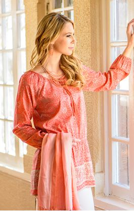 Picture of Floral Grid Printed Tunic Coral - Small