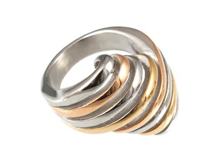 Picture of Chic Elements - Coil Tri-Color Ring   Size 8