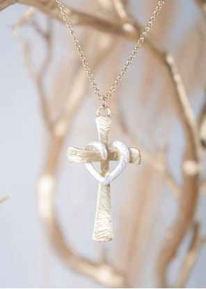 Picture of Crafted Metals Necklace - Gold Cross Heart