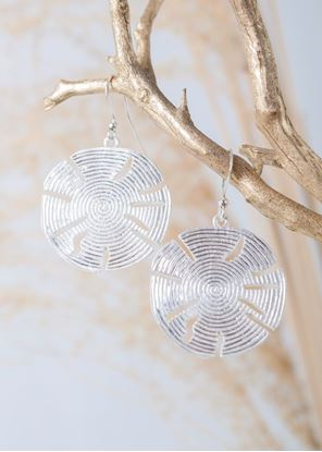 """Picture of Crafted Metals Earrings - Silver """"Beach Life"""" Sand Dollars"""