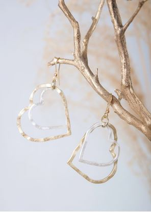 Picture of Gold Crafted Metal Earrings - Two-Tone Hearts
