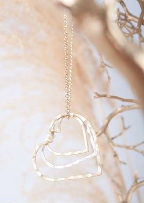 Picture of Gold Crafted Metal Necklace - Two-Tone Hearts