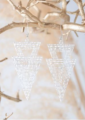 Picture of Silver Crafted Metal Earrings - Arrowheads