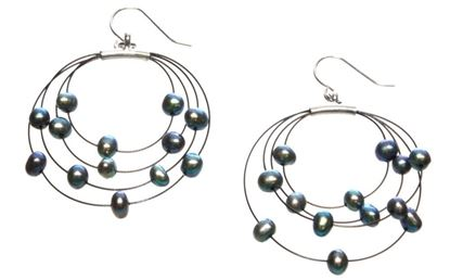 Picture of Amanda Blu Illusion Pearl Earrings on Black Wire - Peacock Black