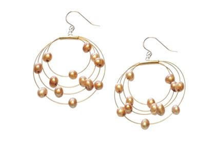 Picture of Amanda Blu Illusion Pearl Earrings on Gold Wire - Goldenrod