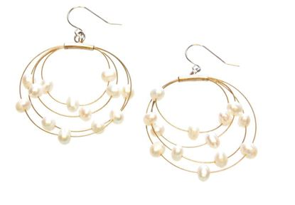 Picture of Amanda Blu Illusion Pearl Earrings on Gold Wire - Natural White