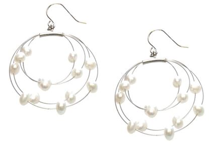 Picture of Amanda Blu Illusion Pearl Earrings on Silver Wire - Natural White