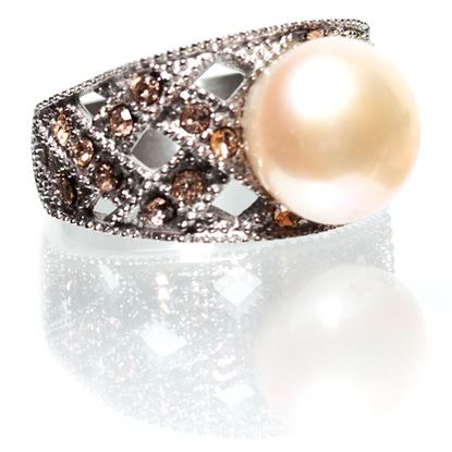 Picture of Size 9 Natural Peach Pearl-Weave Pearl Ring With Peach Crystals