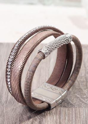 Picture of Leather Cuff Bracelet - Brown Bling