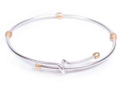 Picture of 2-Tone Adjustable Bangle - Silver with Gold