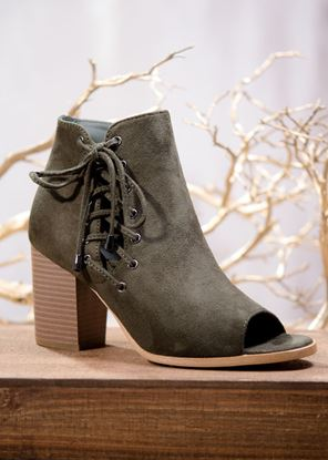 Picture of Lace Up Bootie - Deep Olive