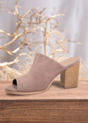 Picture of Open Toe Stack Heel Mule - Taupe