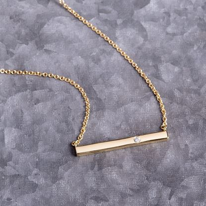 Picture of Bar Necklace with Single CZ - Gold