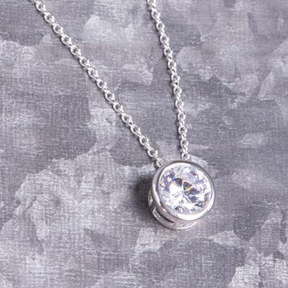 Picture of Bezel Set Necklace - Silver