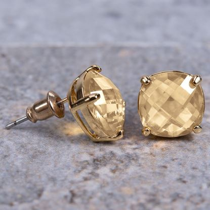 Picture of Cushion Cut Crystal Stud Earrings - Gold