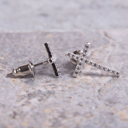 Picture of Cross Stud Earrings - Silver