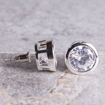 Picture of Bezel Set Stud Earrings - Silver