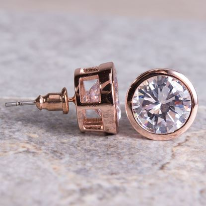 Picture of Bezel Set Stud Earrings - Rosegold