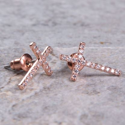 Picture of Cross Stud Earrings - Rosegold