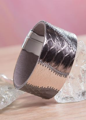 Picture of Leather Patchwork Cuff Bracelet - Cloudy Bronze